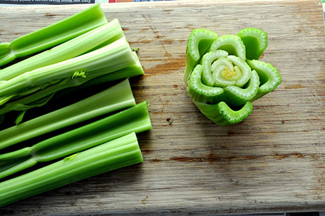 chopped celery to regrow in garden