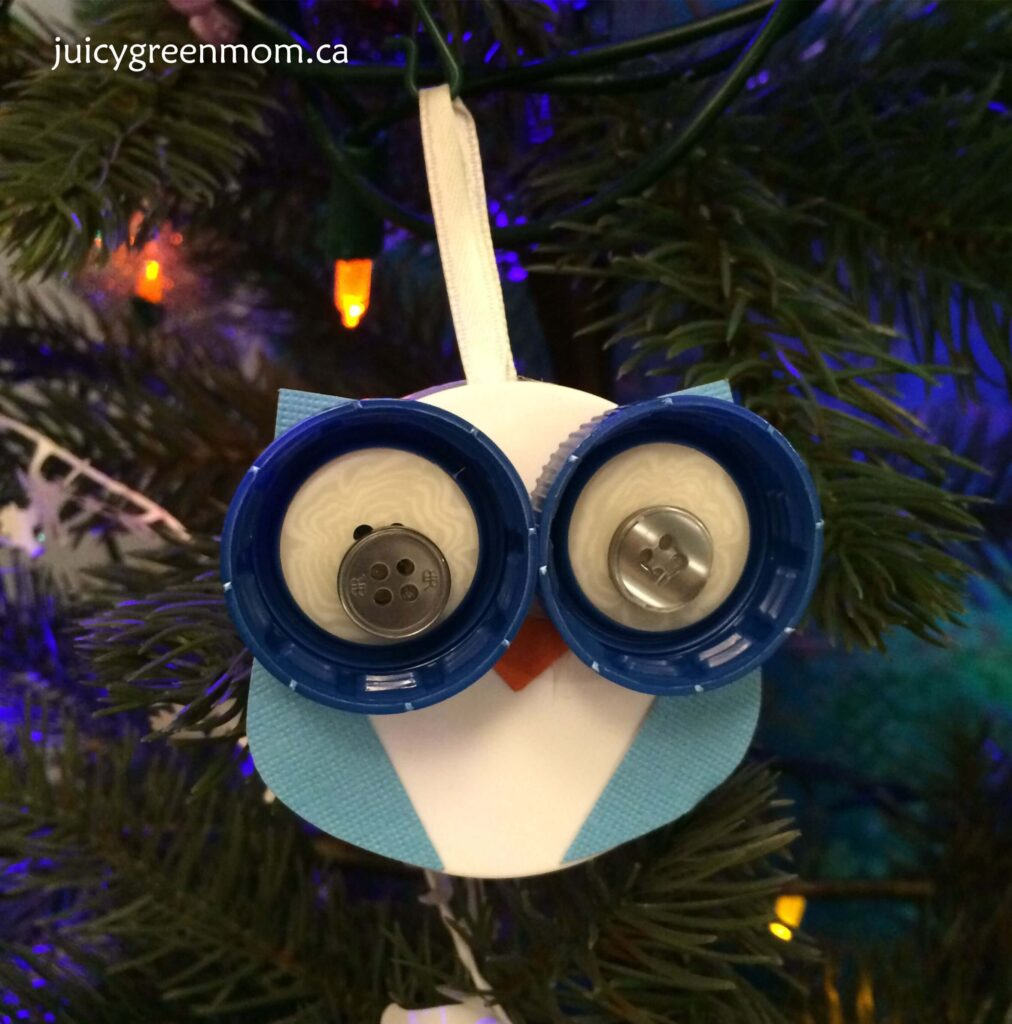owl ornament from upcycled caps and buttons