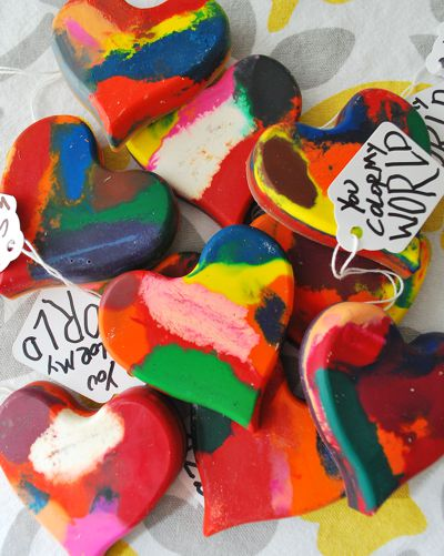crayon heart valentines