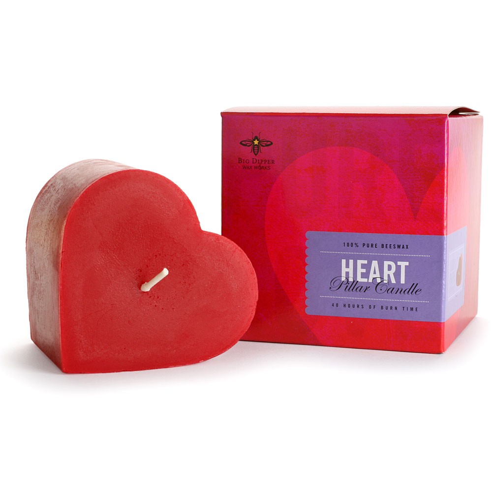 beeswax heart pillar candle earth easy