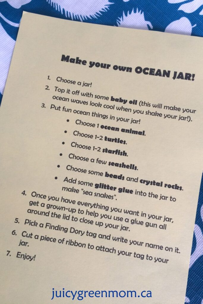 DIY ocean jars for a finding dory party juicygreenmom instructions