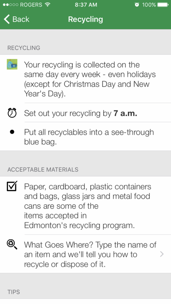 recycling wastewise app city of edmonton