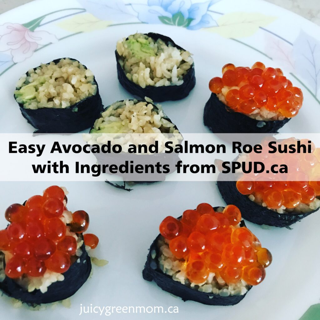 Easy Avocado and Salmon Roe Sushi with Ingredients from SPUD.ca